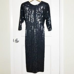 Vintage 80s Black Sequin Dress by Oleg Cassini